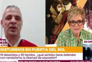 Inés Ballester (Telemadrid) corta a un portavoz policial de Jupol en cuanto empieza a meterle caña a Podemos