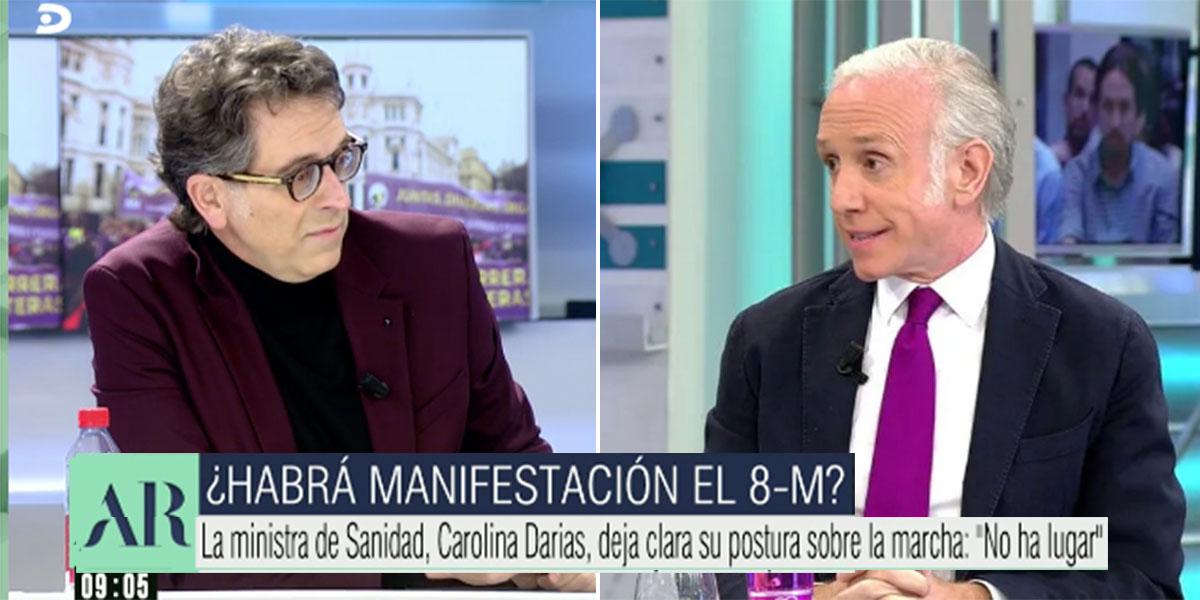 """Eduardo Inda fulmina a Rodolfo Irago en directo en Telecinco: """"¿Con quién has empatado? ¡No eres nadie!"""""""