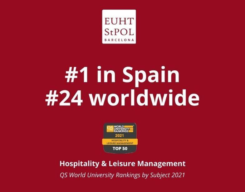 EUHT StPOL se consolida como la mejor universidad de España en Hotelería y Turismo