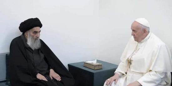 """El Papa Francisco al ayatolá chiita Alí Sistani en Nayaf: """"Los cristianos de Irak deben vivir en paz"""""""