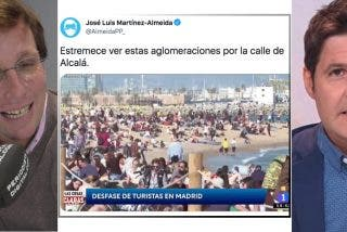 Almeida se cachondea de la última manipulación de Cintora en TVE colocando una atestada Barceloneta en Madrid