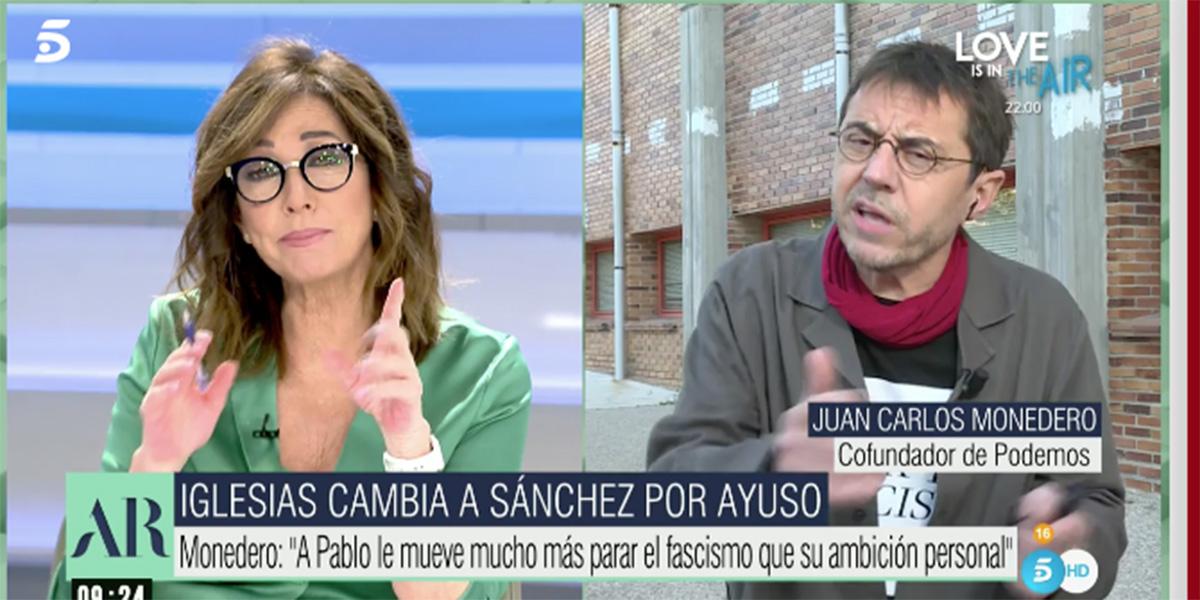 """Ana Rosa corta a Monedero: """"¡Qué pesados sois con el fascismo! ¡Muy pesados!"""""""
