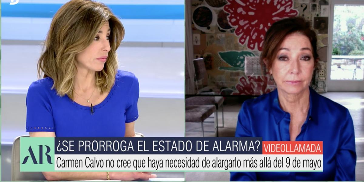 Ana Rosa Quintana asesta un palo a Carmen Calvo por no cerrar la puerta a otro estado de alarma en mayo