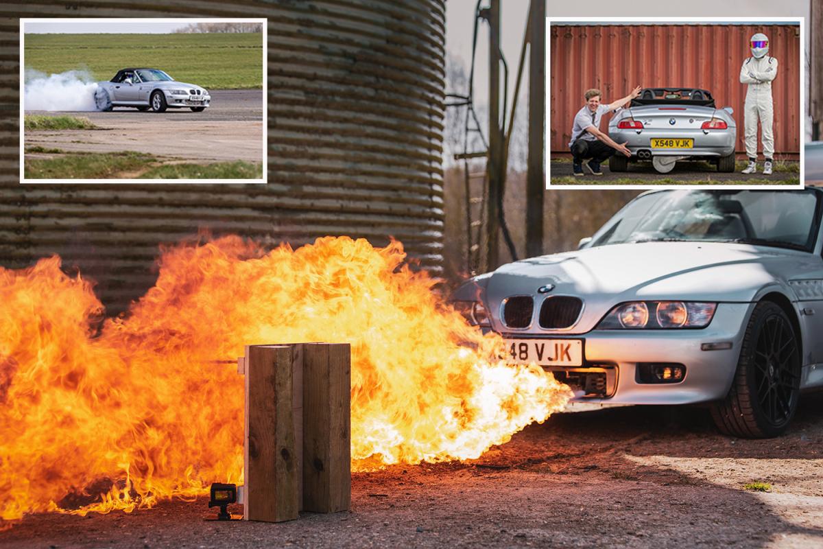 A partir de un viejo BMW y con solo 8.000 euros monta un coche James Bond con lanzallamas incluido
