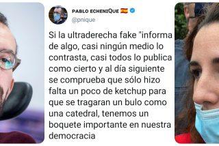 Echenique, que llamaba 'ketchup' a la sangre de la pedrada a De Meer, rabia contra VOX por decir que el 'molotov' a Podemos es un montaje