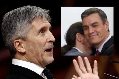 Marlaska debería dimitir, si tuviera vergüenza, pero en eso es ya como su jefe Pedro Sánchez