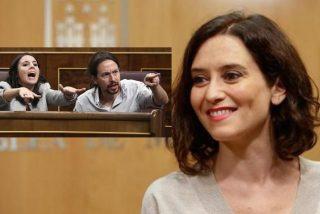 """La presidenta de Madrid se enternece al ver como Montero e Iglesias se abrazan contra ella: """"Lo que una Ayuso, que no lo separe Galapagar"""""""