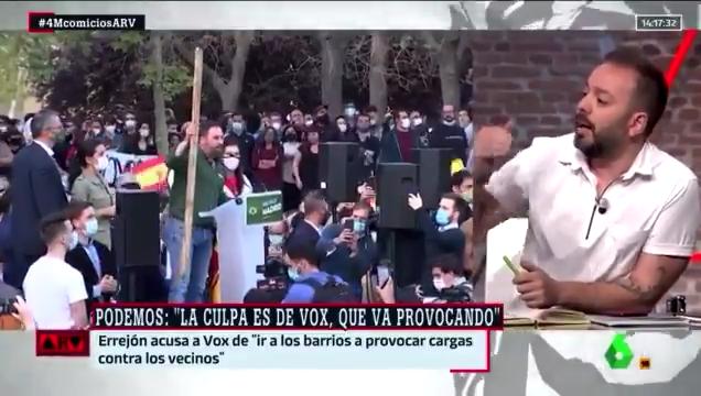 """Antonio Maestre destila odio en laSexta: """"Abascal fue buscando la foto de la violencia"""""""