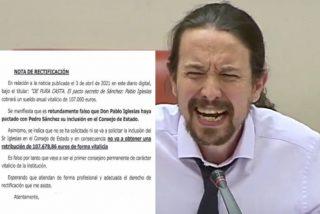 Pablo Iglesias manda un burofax a Periodista Digital negando haber pactado con Pedro Sánchez una 'jubilación dorada'