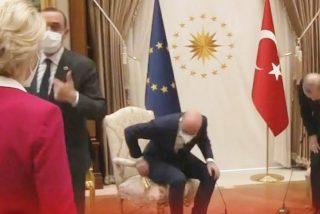 El islámico Erdogan deja sin silla a Ursula von der Leyen, presidenta de la Comisión Europea y ella traga