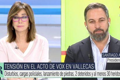 """Ana Rosa se la pone botando a Abascal: """"¡Cómo se les ocurrió ir a Vallecas!"""""""