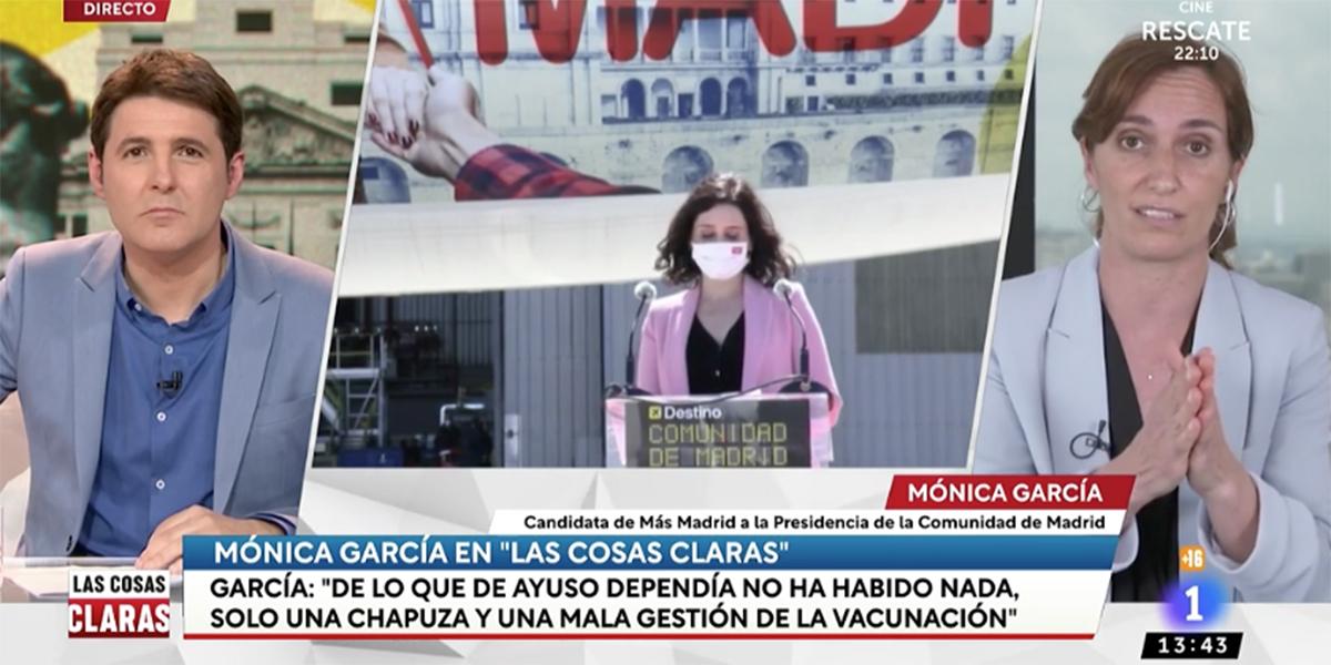 'La pistolera' Mónica García demuestra en Cintora que toda su campaña consiste en… ¡Ayuso!