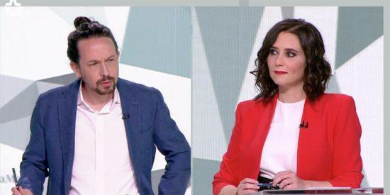 """Ayuso destroza al 'comunismo' de Iglesias: """"Usted da vergüenza ajena, ¡pantomima, mezquino!"""""""