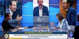 Mónica López 'olvida' preguntar a Iglesias por el acoso a una alumna pero el podemita protesta porque TVE 'mima' a VOX