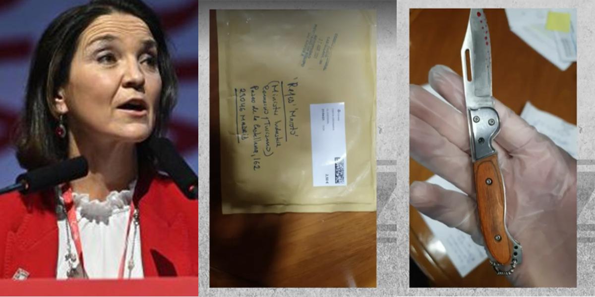 Sólo falta que les manden cartas: la ministra Reyes Maroto recibe por correo una navaja ensangrentada