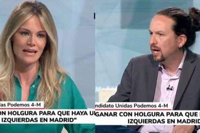 Entrevista en Telemadrid: la novia de Cintora le hace 'masaje' a Pablo Iglesias