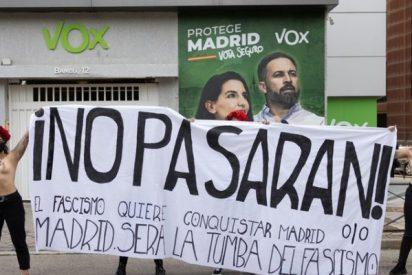 """VOX se cachondea del escrache de las Femen ante su sede: """"Es una irresponsabilidad de Iglesias ordenar a su harén venir aquí"""""""