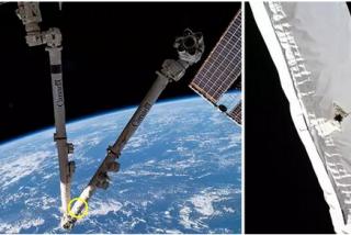 Así es el agujero abierto en el brazo robótico de la Estación Espacial