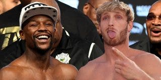 El bloguero boxeador Jake Paul le arranca la gorra a Floyd Mayweather y termina con un ojo morado