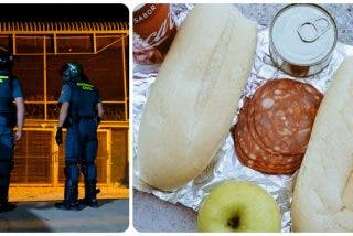 El cutre menú de la Guardia Civil en Ceuta: Dos chuscos de pan, cinco rodajas de chorizo, una lata de atún y una manzana