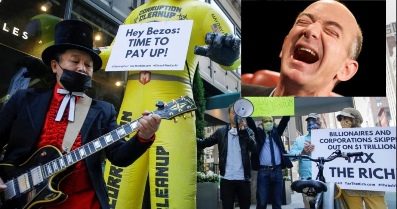 Millonarios 'patrióticos' protestan frente a la casa de Jeff Bezos exigiendo un impuesto para grandes patrimonios