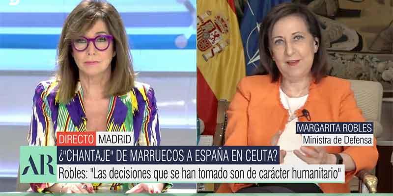 """Pullazo de Ana Rosa a Margarita Robles: """"Sus socios de Podemos no querían ejército y fíjate en Ceuta"""""""