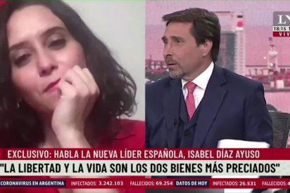"""Humillación internacional a Sánchez: La TV argentina exalta a Ayuso, """"la mujer política del momento en el planeta"""""""