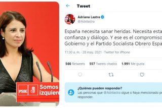 Autozasca de Adriana Lastra: la socialista reclama diálogo, pero censura las opiniones contrarias