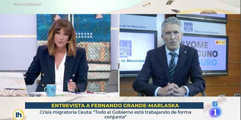 TVE y Mónica López miman a Marlaska, que se permite el lujo de atacar a Abascal por proponer desplegar al Ejército en Ceuta