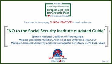 Doble Premio para CONFESQ: Premio Cívico Europeo al Dolor Crónico- III edición y retirada de la Guía INSS