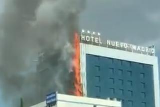 Gran incendio en el Hotel Nuevo Madrid, junto a la M-30