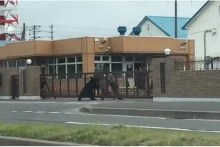 El instante en que un oso ataca a un soldado en una base militar de Japón