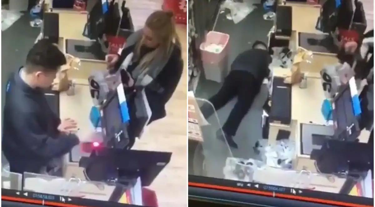 El momento en que el cajero con resaca finge desmayarse ante una clienta, para irse a casa 'por enfermedad'