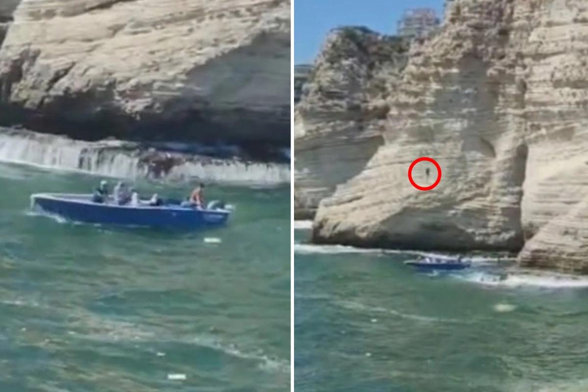 El escalofriante momento en que el hombre salta de lo alto del acantilado y se mata, al caer sobre un bote turístico
