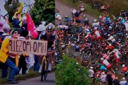 Tour de Francia demanda a la espectadora idiota que causó la masiva caída de los ciclistas