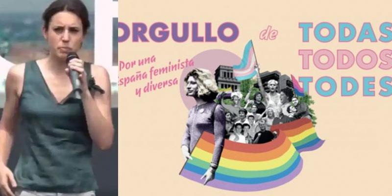 """Nueva patada de Irene Montero a la RAE: Igualdad lleva su """"todes"""" a los carteles oficiales del Gobierno"""