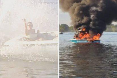 Karma: acosan a un bote con la bandera LGBT, su lancha se incendia y tienen que ser rescatados por los insultados