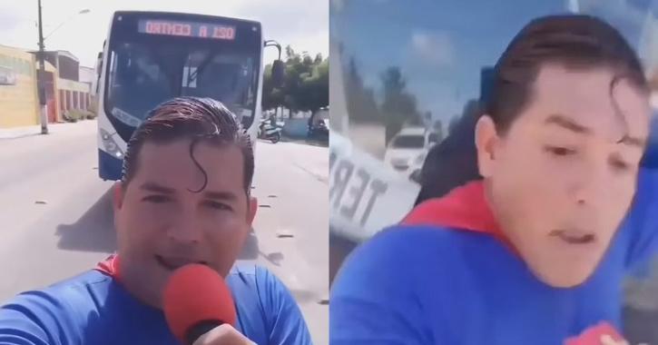 El dramático instante en que 'Superman' intenta detener un autobús con la mano y el truco le sale mal