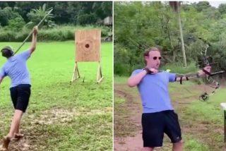Zuckerberg presume de puntería con lanza y arco, pero en redes sociales se cachondean de un detalle