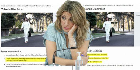 Moncloa cambia a hurtadillas el CV de Yolanda Díaz para esconder sus tres másteres falsos