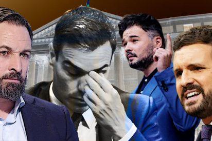 Casado y Abascal 'apalean' a Sánchez y su socio Rufián, lo humilla