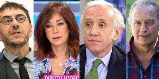 "Monedero acusa a Ana Rosa Quintana, Eduardo Inda y Bertín Osborne de ""facilitar"" la violencia machista"