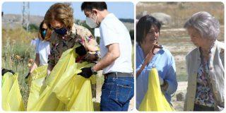 La Reina Sofía se parte el lomo recogiendo basura en el campo