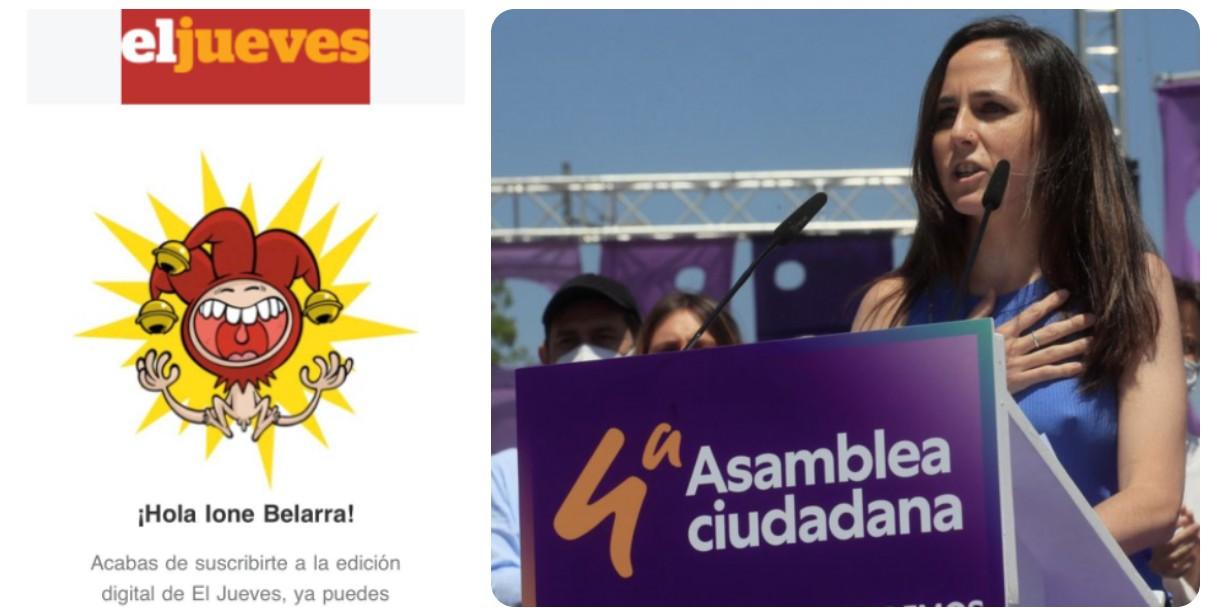 Ione Belarra premia el ataque de El Jueves a VOX suscribiéndose a la revista satírica