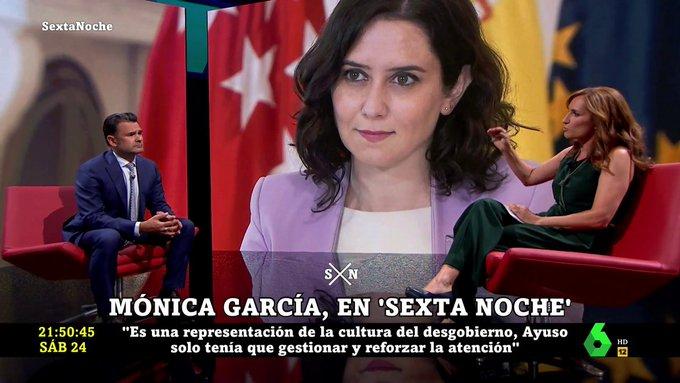 """Twitter liquida a Mónica García tras pasear por laSexta su odio a Díaz Ayuso: """"Eres una farsante"""""""