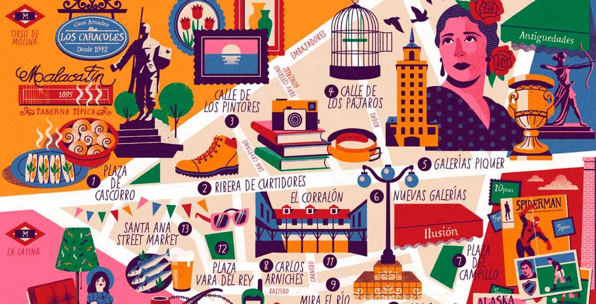 El Ayuntamiento de Madrid publica un nuevo Mapa Cultural Ilustrado dedicado a El Rastro