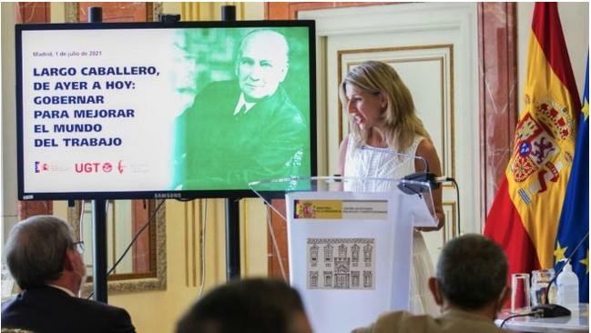 """Yolanda Díaz presume de la admiración del Gobierno por el asesino Largo Caballero: """"Es nuestro modelo a seguir"""""""