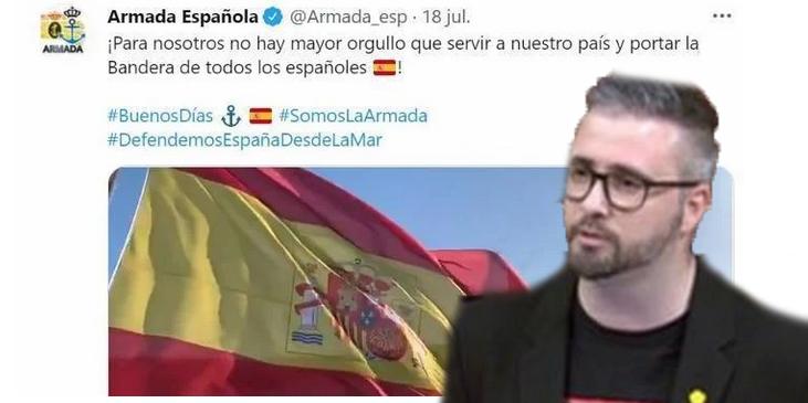 ERC exige a Sánchez investigar a la Armada por publicar una bandera de España el 18 de julio, día del alzamiento de 1936