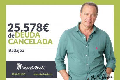 Repara tu Deuda Abogados cancela 25.578€ en Badajoz (Extremadura) gracias a la Ley de Segunda Oportunidad