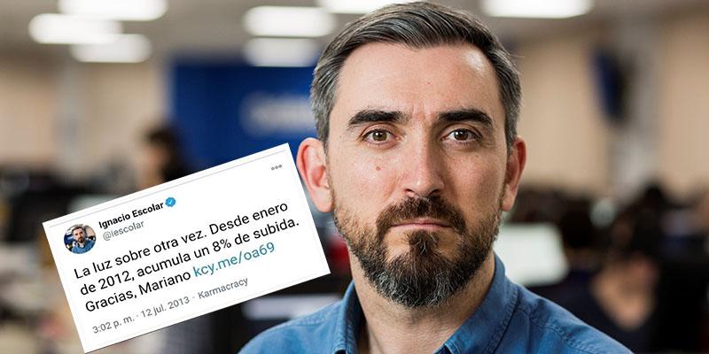 """Ignacio Escolar, 'electrocutado' por su tuit contra la subida de la luz de 2013: """"¿Ya le diste las gracias a Sánchez?"""""""